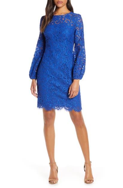 Eliza J Long Sleeve Lace Sheath Dress In Cobalt