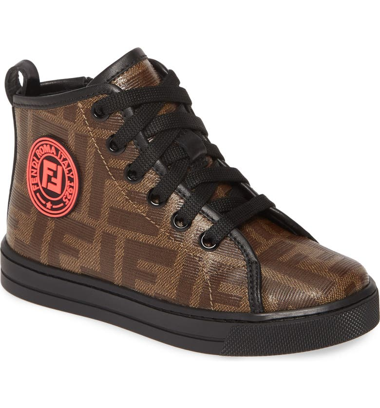 FENDI Double-F Logo High Top Sneaker, Main, color, BROWN/ GOLD
