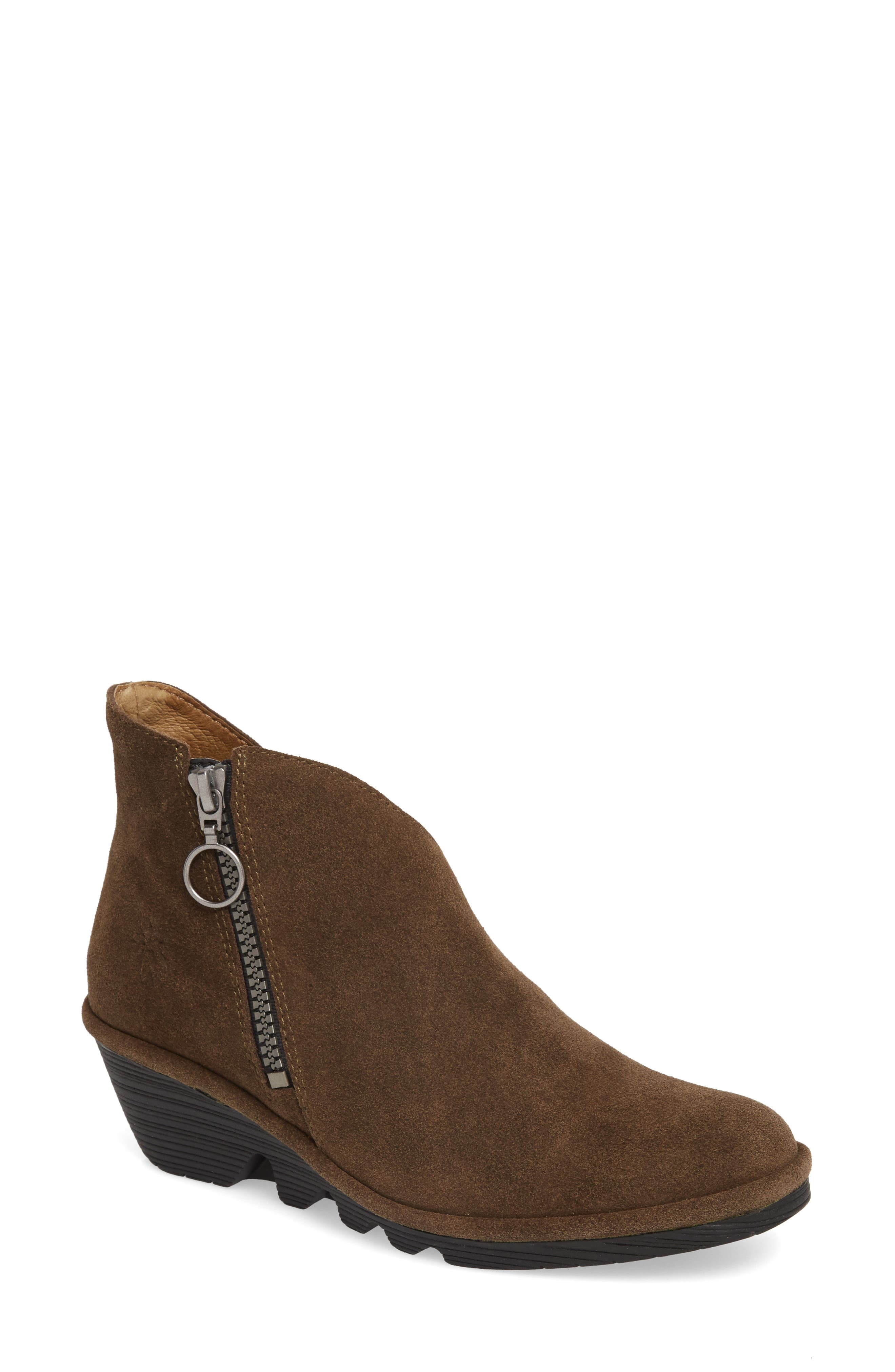 Fly London Poro Wedge Bootie - Green