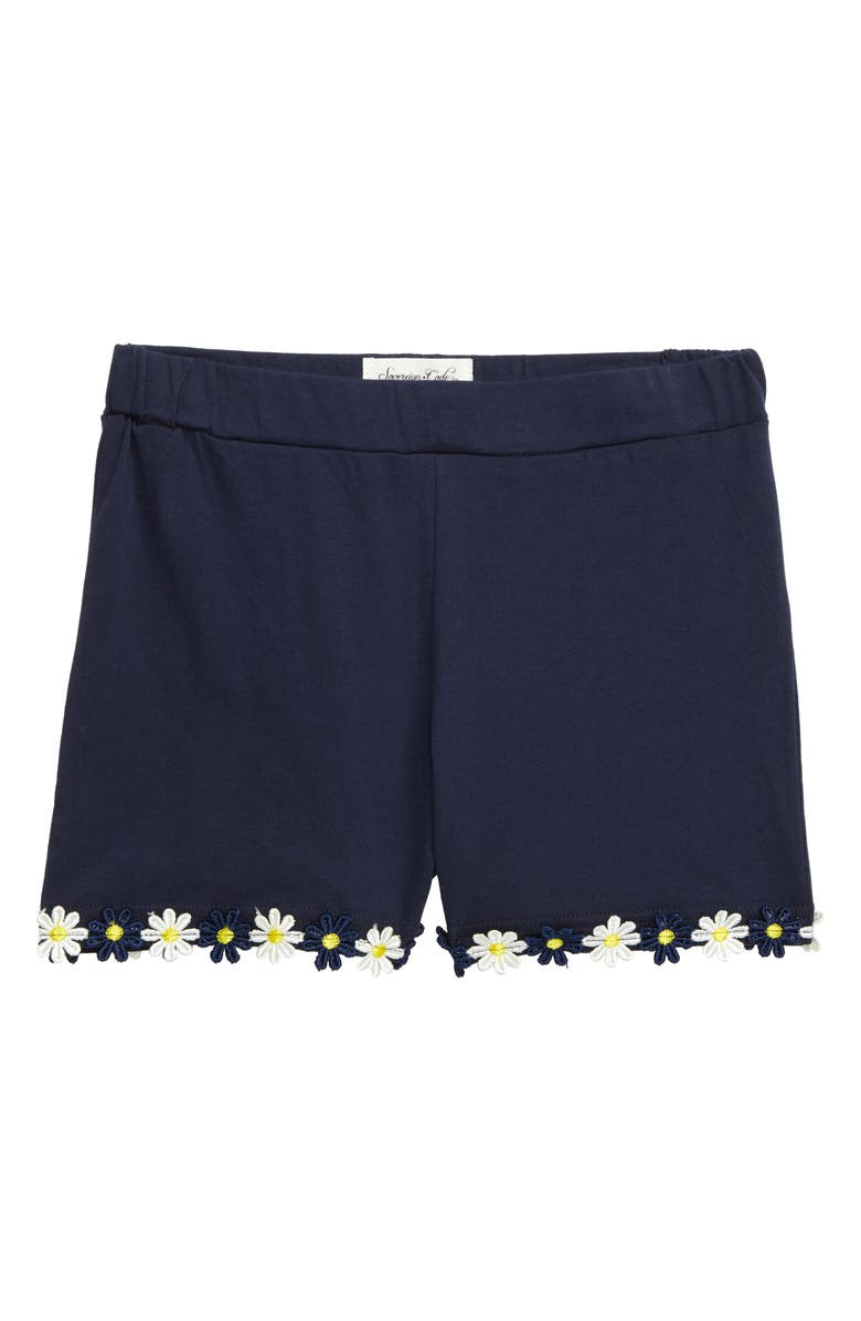 SOVEREIGN CODE Fern Daisy Trim Shorts, Main, color, NAVY