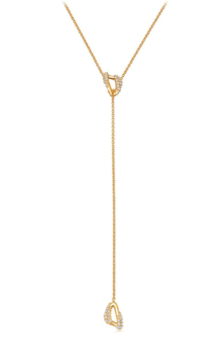ASTLEY CLARKE Mini Vela Lariat Necklace, Main, color, YELLOW GOLD/ DIAMOND