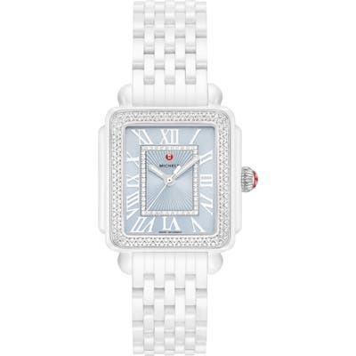 Michele Deco Madison Mid Diamond Watch Head & Ceramic Bracelet, 1m
