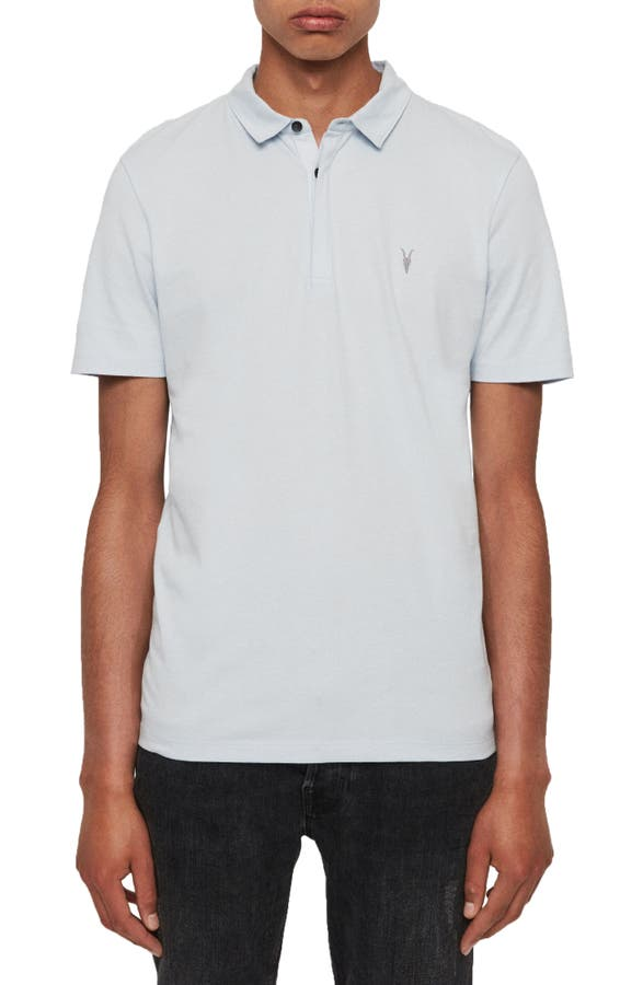 Allsaints Brace Slim Fit Solid Polo In Optic White