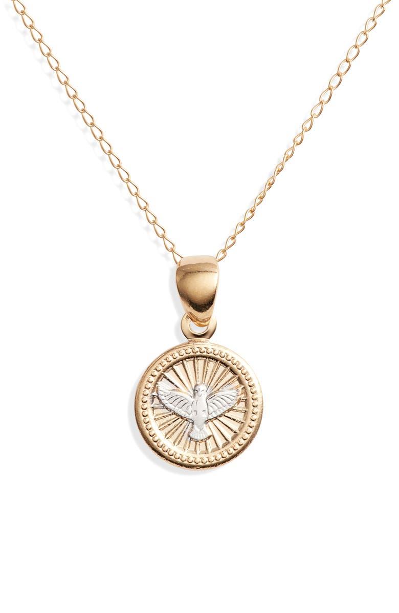 BRACHA Peace Pendant Necklace, Main, color, GOLD
