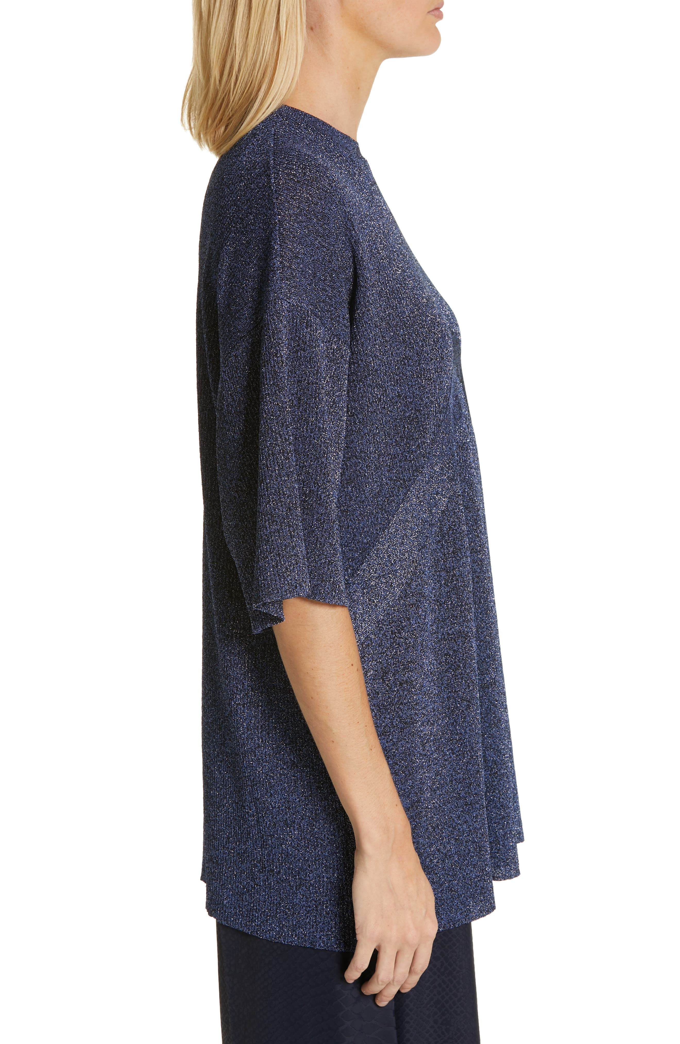 ,                             Metallic Knit Sweater,                             Alternate thumbnail 4, color,                             BLUE