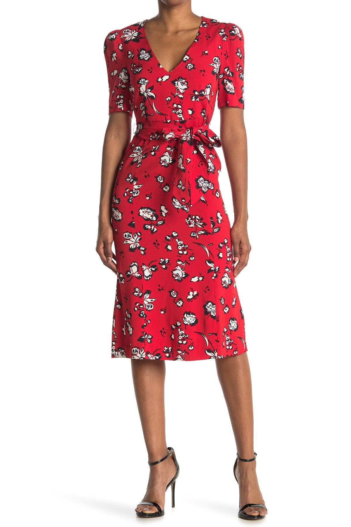 Image of VERONICA BEARD Joia Floral Print Midi Dress