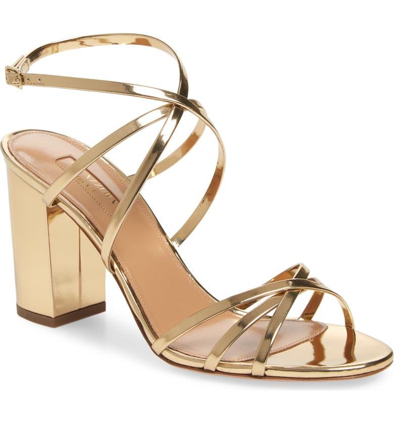 AQUAZZURA Gin Block Heel Sandal, Main, color, SOFT GOLD