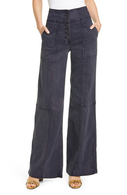 Ulla Johnson Greer Wide Leg Jeans In Charcoal Denim