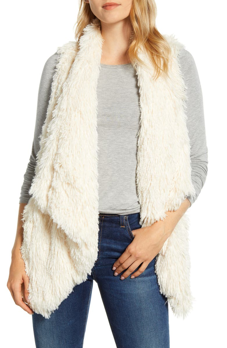 WIT & WISDOM Cascade Faux Fur Vest, Main, color, IVORY
