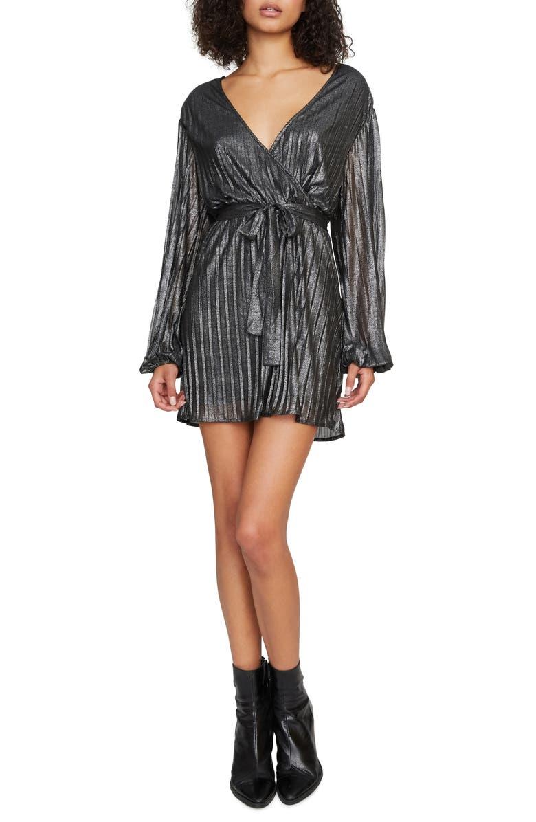 SANCTUARY It's Party Time Tie Waist Faux Wrap Minidress, Main, color, BLACK SHINE