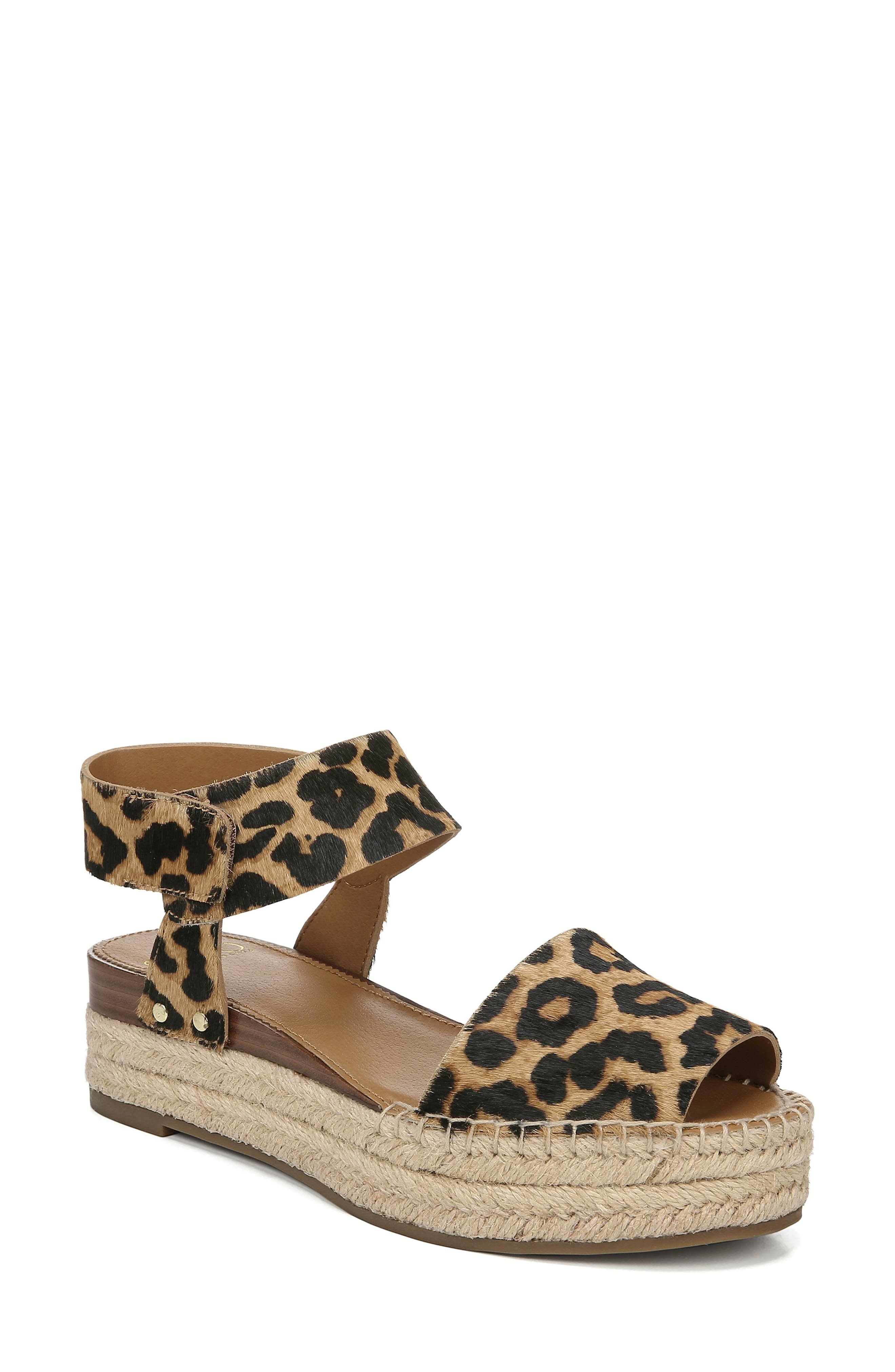 ,                             Oak Genuine Calf Hair Platform Wedge Espadrille,                             Main thumbnail 1, color,                             LEOPARD PRINT CALF HAIR