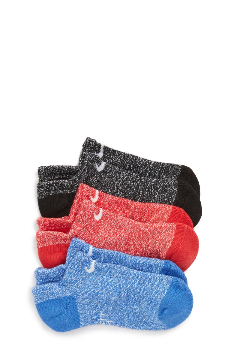 NIKE 3-Pack Performance Cushioned No-Show Socks, Main, color, RED