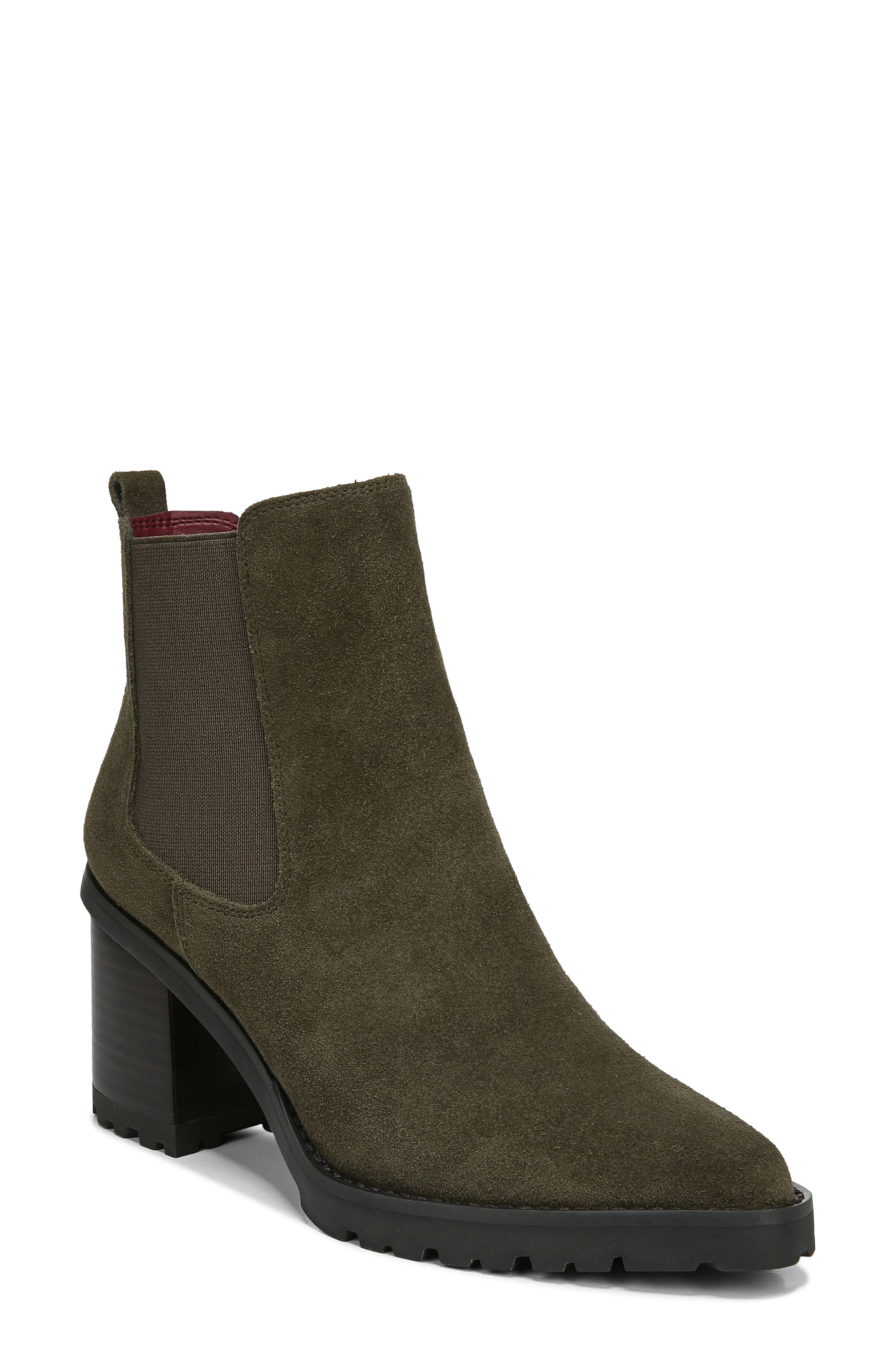 A lug sole brings utilitarian comfort and traction to a simple leather bootie with Chelsea-inspired details and an easy zipper at the side. Style Name: Franco Sarto Trent Bootie (Women). Style Number: 6123134. Available in stores.