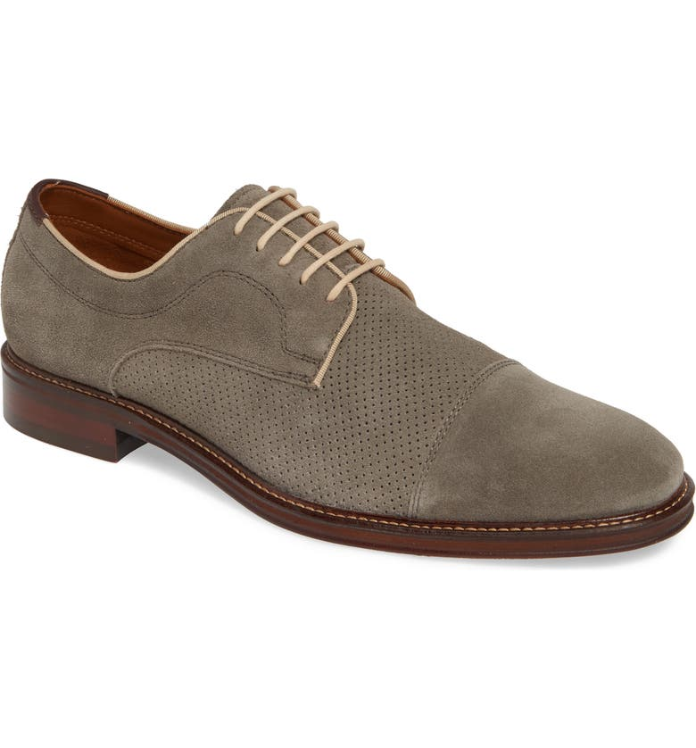 JOHNSTON & MURPHY Warner Cap Toe Derby, Main, color, GREY SUEDE