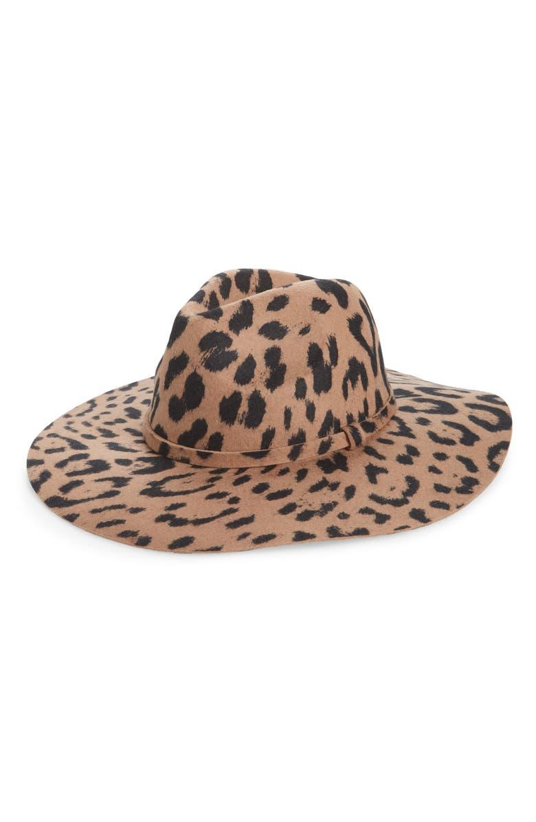BP. Leopard Print Wool Panama Hat, Main, color, 210