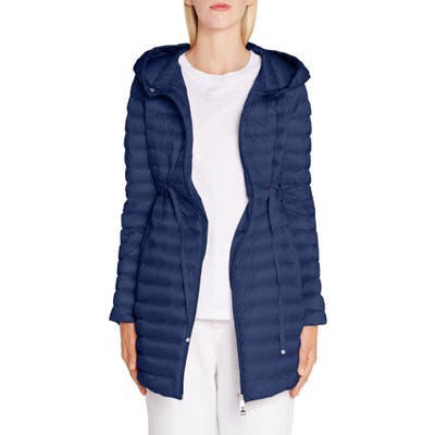Moncler Barbel Tie Waist Hooded Lightweight Down Coat