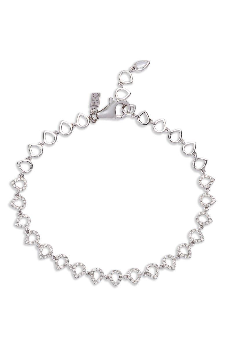 EF COLLECTION Diamond Teardrop Bracelet, Main, color, WHITE GOLD/ DIAMOND
