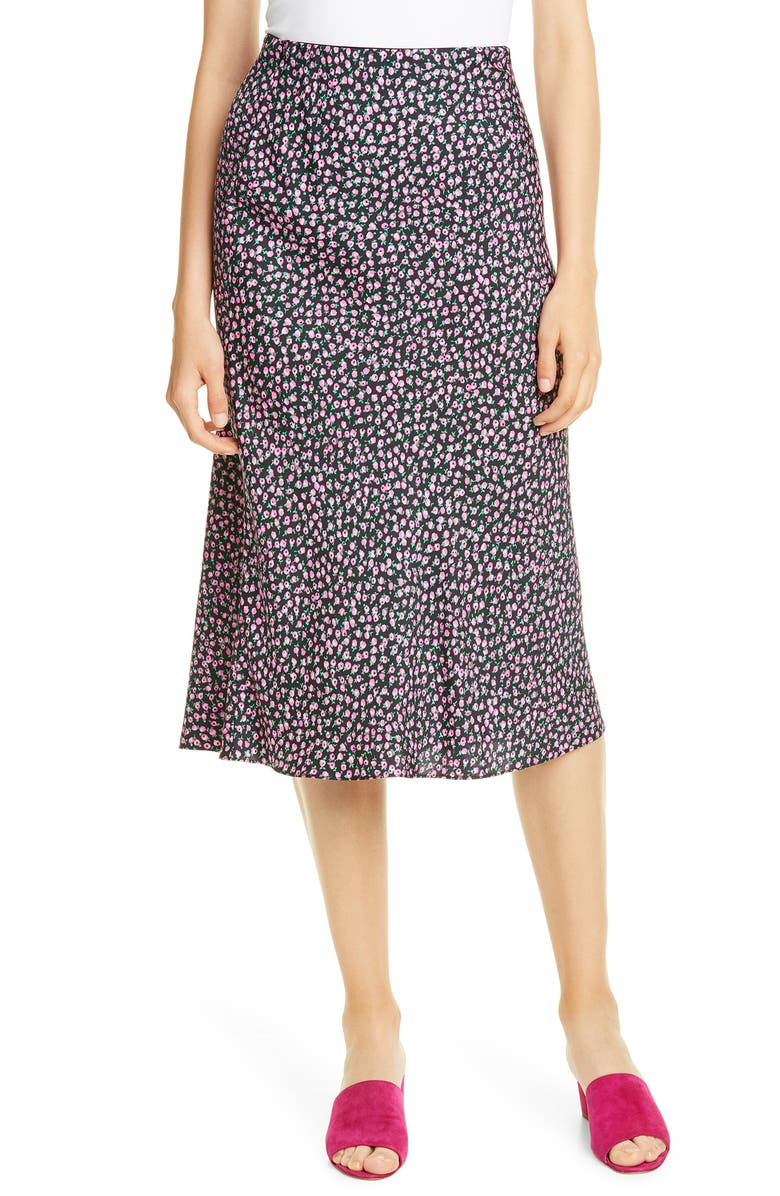 REBECCA TAYLOR High Waist Wild Rose Print Skirt, Main, color, BLACK