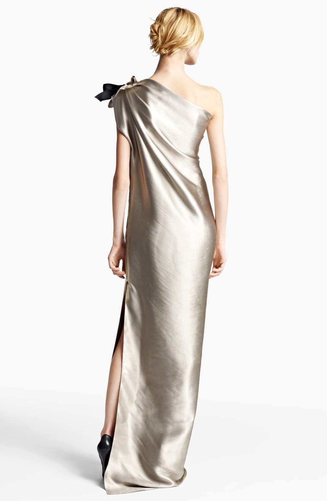 ,                             Washed Duchesse Satin One Shoulder Gown,                             Alternate thumbnail 2, color,                             040