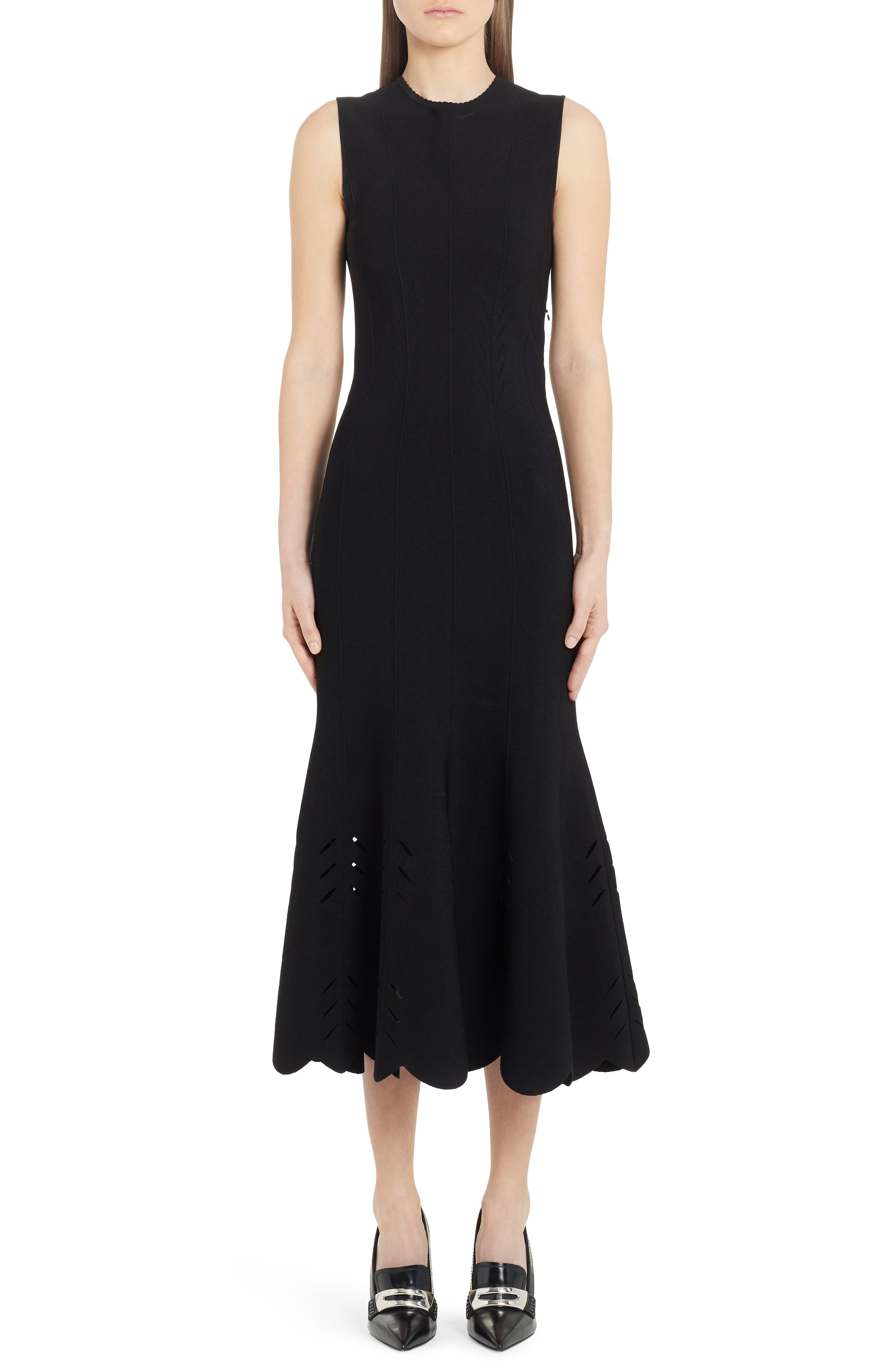 Alexander Mcqueen Cutout Scallop Hem Midi Sweater Dress, Black