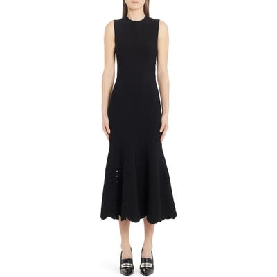 Alexander Mcqueen Cutout Scallop Hem Midi Sweater Dress, Black