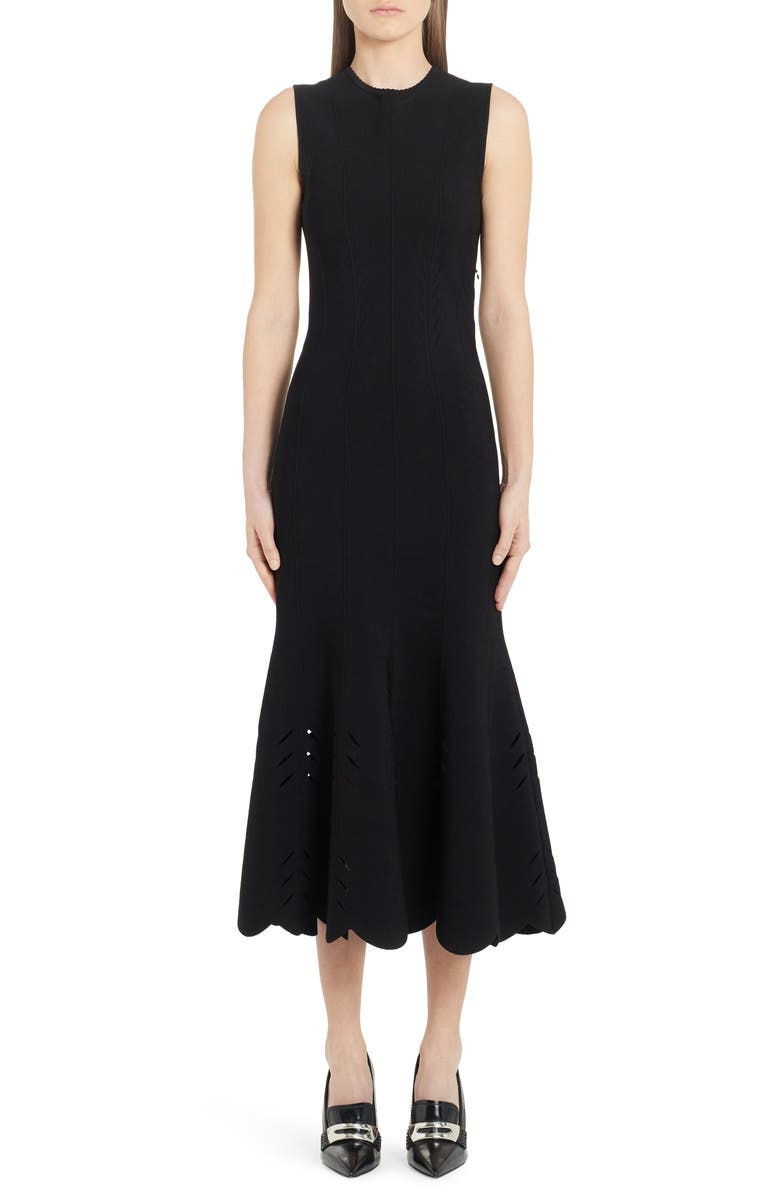 ALEXANDER MCQUEEN Cutout Scallop Hem Midi Sweater Dress, Main, color, BLACK