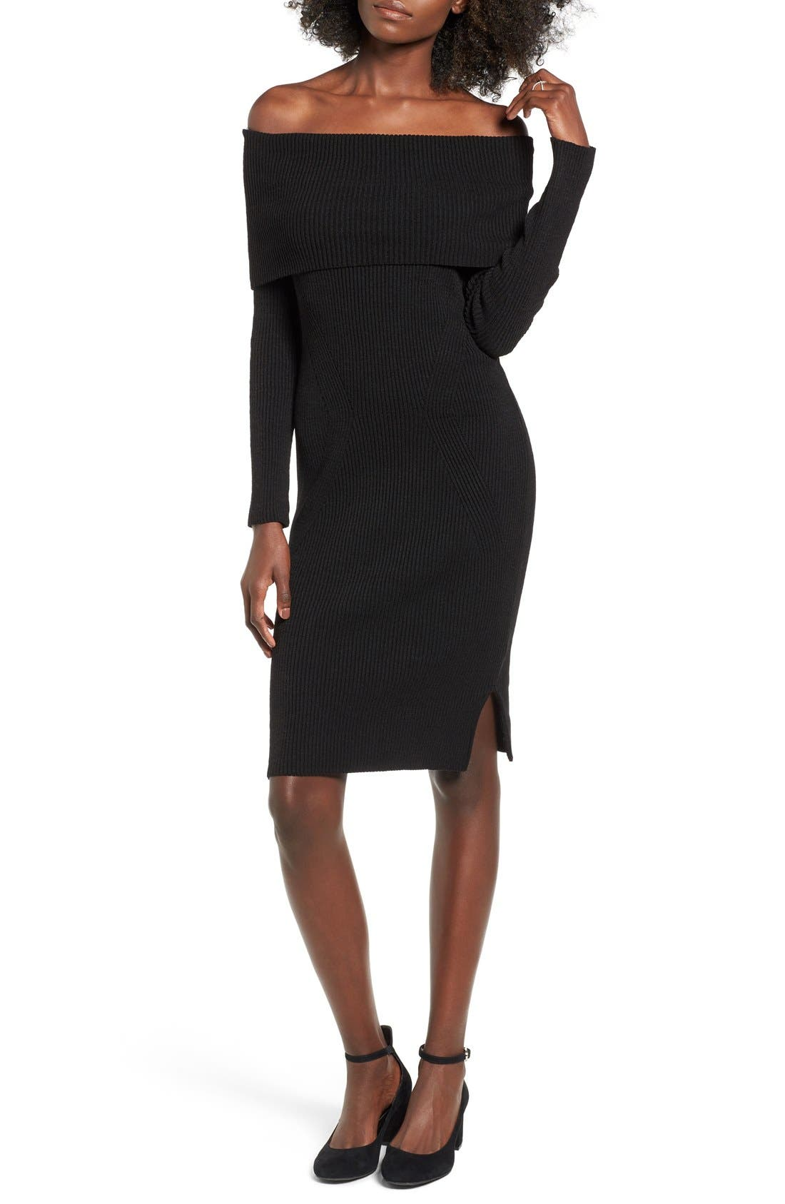 ,                             Off the Shoulder Knit Body-Con Dress,                             Main thumbnail 1, color,                             001