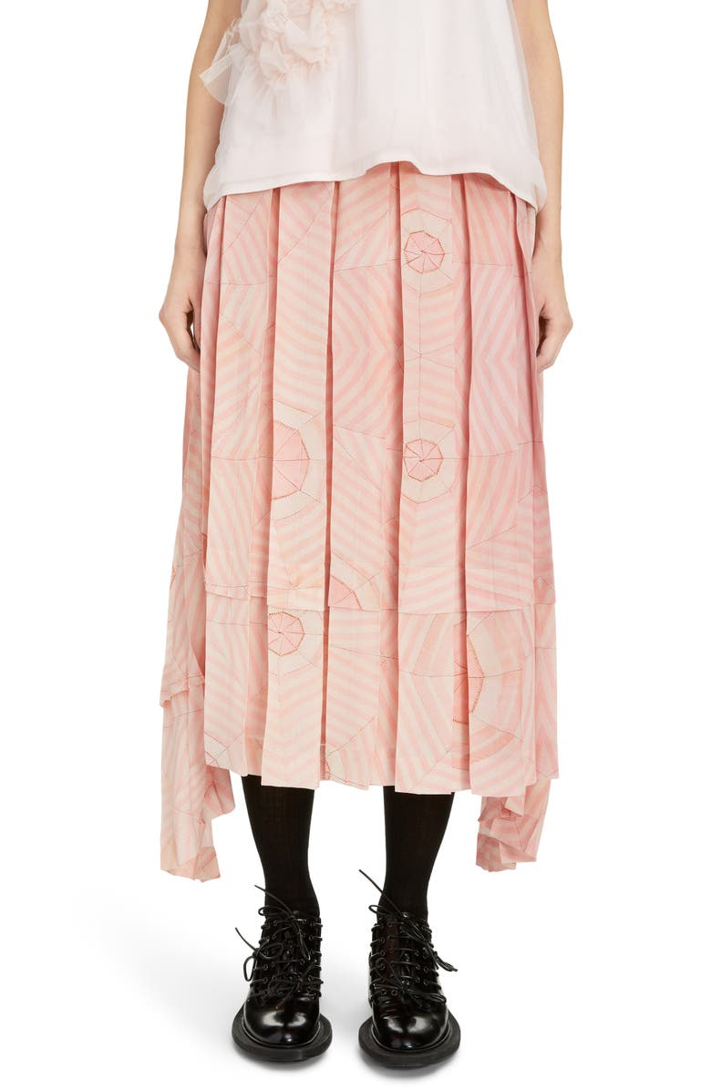 SIMONE ROCHA Deconstructed Pleated Silk Crêpe de Chine Midi Skirt, Main, color, PINK WEB