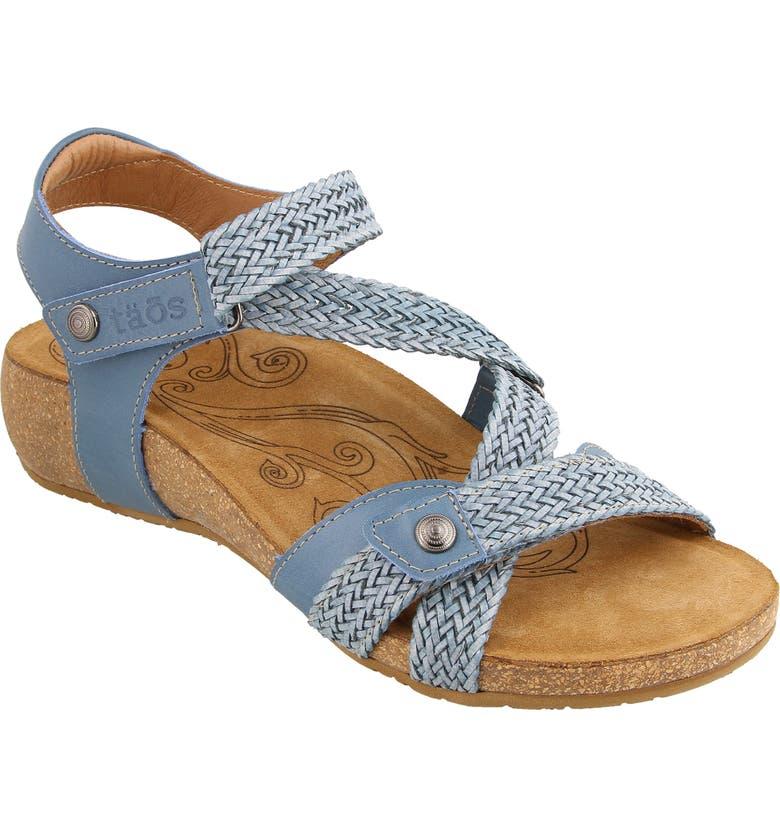 TAOS 'Trulie' Wedge Sandal, Main, color, SKY BLUE LEATHER