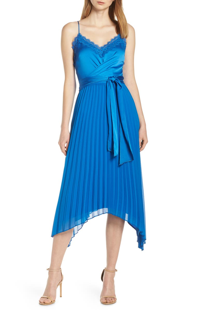 HARLYN Pleated Tie Front Dress, Main, color, BLUE