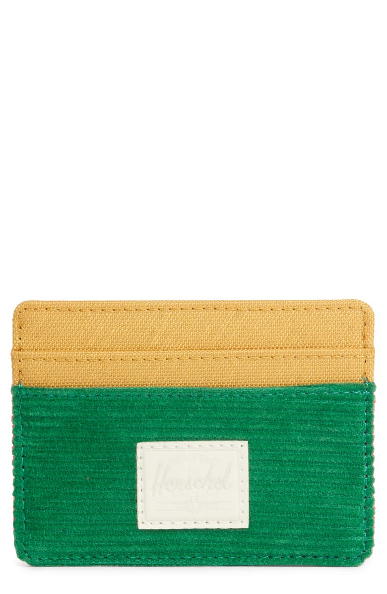 HERSCHEL SUPPLY CO. Charlie Card Case, Main, color, GREEN/ RED/ GOLD
