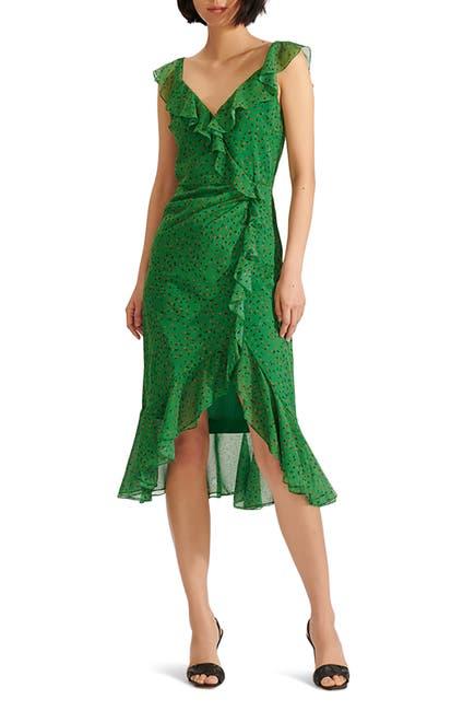 Image of VERONICA BEARD Amal Ruffle Trim Silk Dress