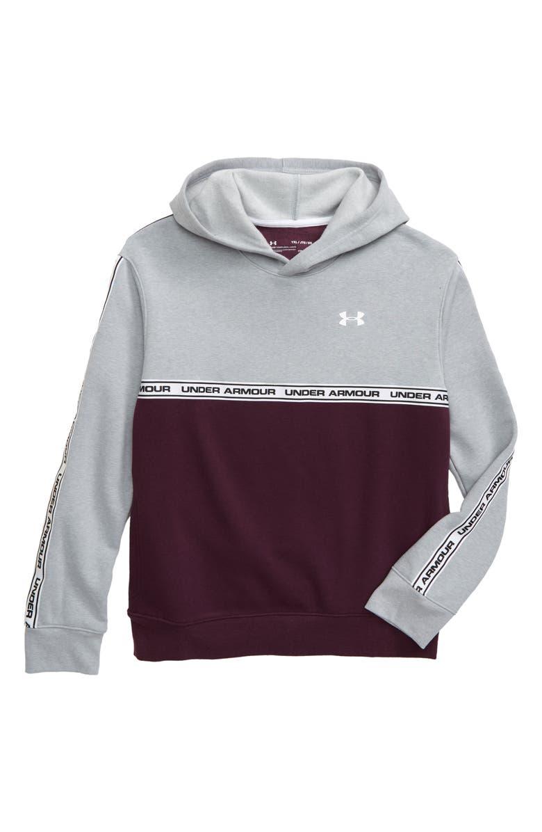 UNDER ARMOUR Sportstyle Pullover Fleece Hoodie, Main, color, LIGHT HEATHER/ KINETIC PURPLE