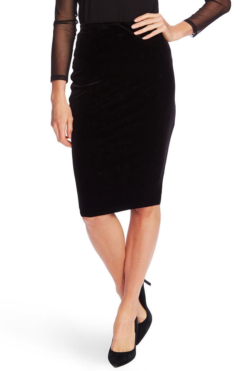 VINCE CAMUTO Velvet Tube Skirt, Main, color, RICH BLACK