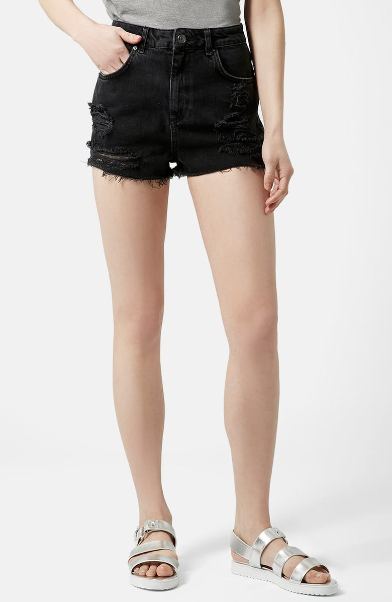 TOPSHOP Moto Ripped Shorts, Main, color, 001