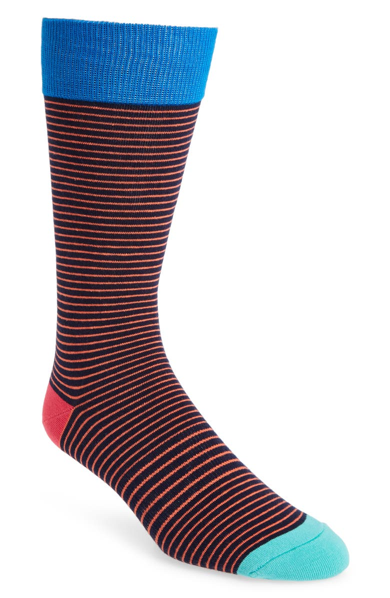 FUN SOCKS Fundamental Stripe Socks, Main, color, RED MULTI