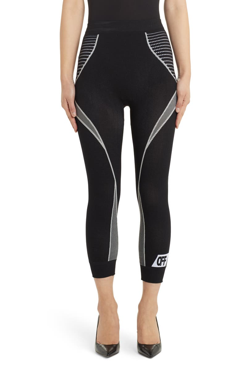 OFF-WHITE Athletic Biker Capri Leggings, Main, color, 001