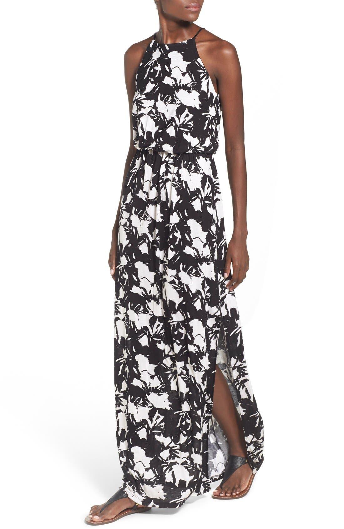 ,                             High Neck Maxi Dress,                             Alternate thumbnail 52, color,                             100