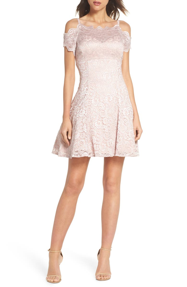 MORGAN & CO. Cold Shoulder Glitter Lace Fit & Flare Dress, Main, color, 273
