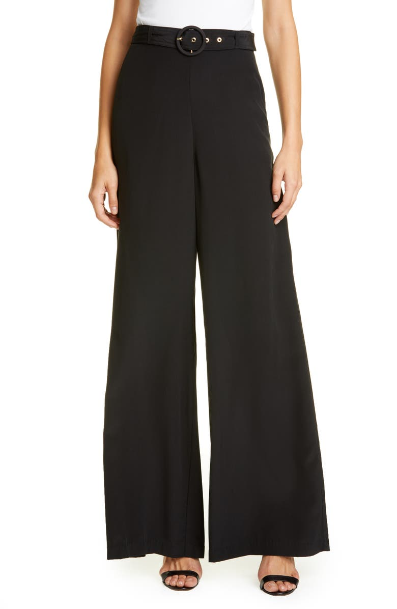 ZIMMERMANN Espionage Belted Silk Pants, Main, color, BLACK