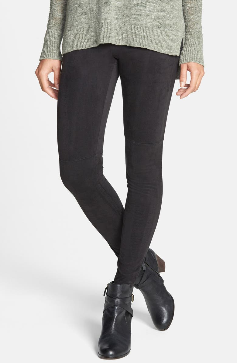 HUE 'Ultra Suede' Leggings, Main, color, 001