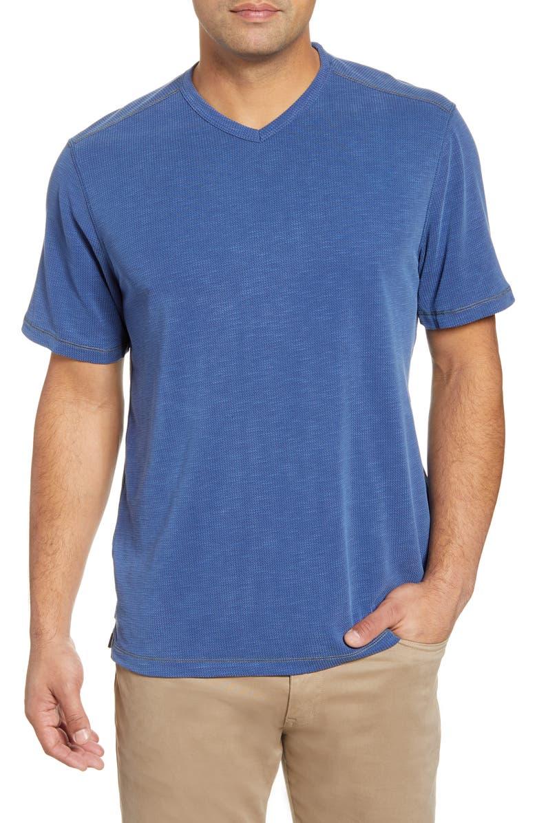 TOMMY BAHAMA Tropicool Paradise V-Neck T-Shirt, Main, color, ISLAND NAVY