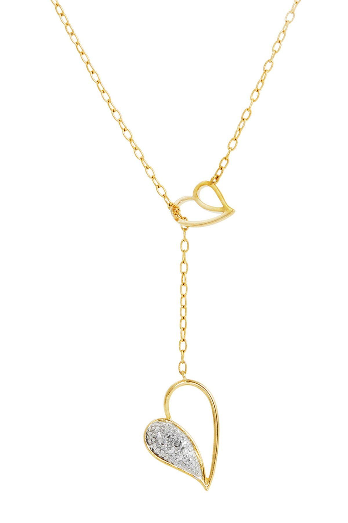 Image of Savvy Cie 14K Gold Plated Sterling Silver Diamond Double Heart Lariat Necklace - 0.01 ctw
