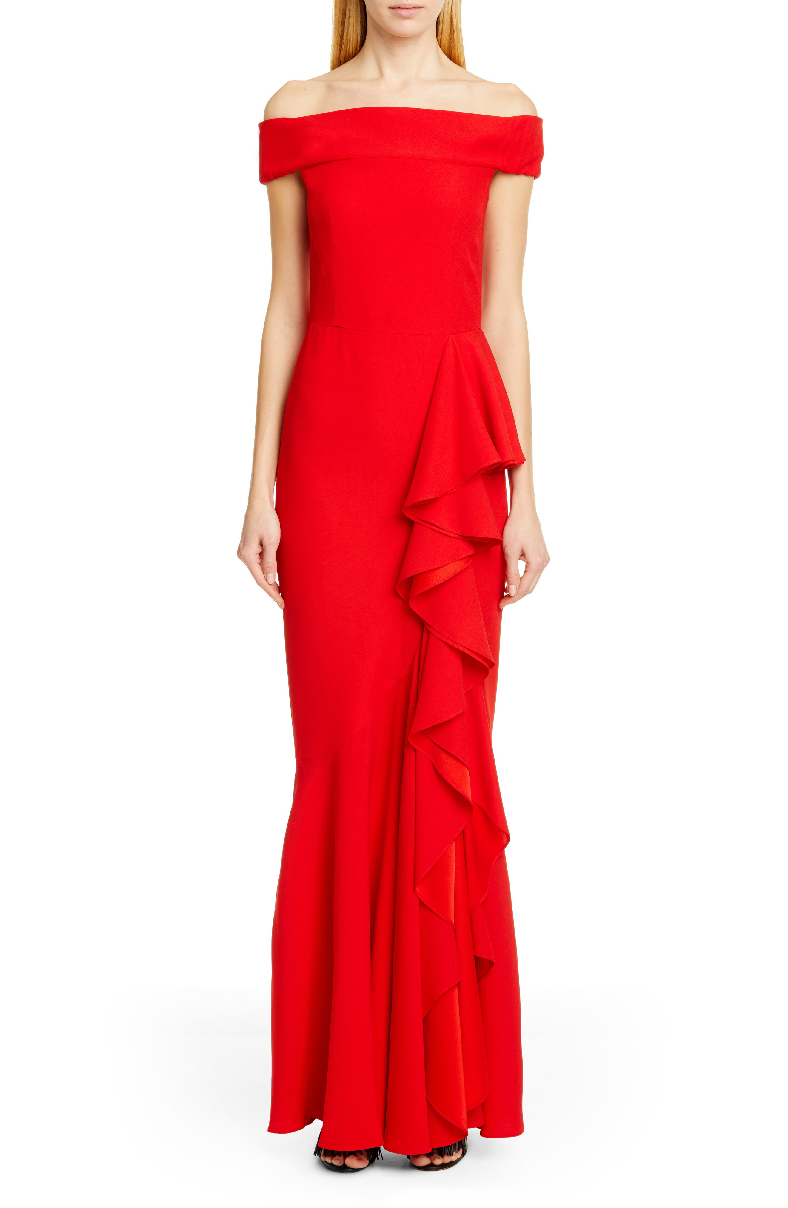 ,                             Ruffle Off the Shoulder Evening Dress,                             Main thumbnail 1, color,                             LUST RED