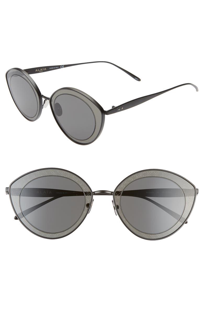 ALAÏA 48mm Cat Eye Sunglasses, Main, color, BLACK