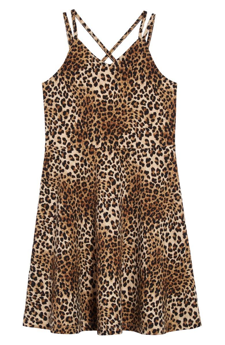 ZUNIE Animal Print Sleeveless Strappy Scuba Dress, Main, color, BLACK