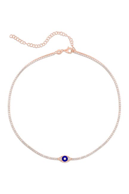Image of Sphera Milano 14K Rose Gold Plated Sterling Silver CZ Evil Eye Tennis Choker Necklace