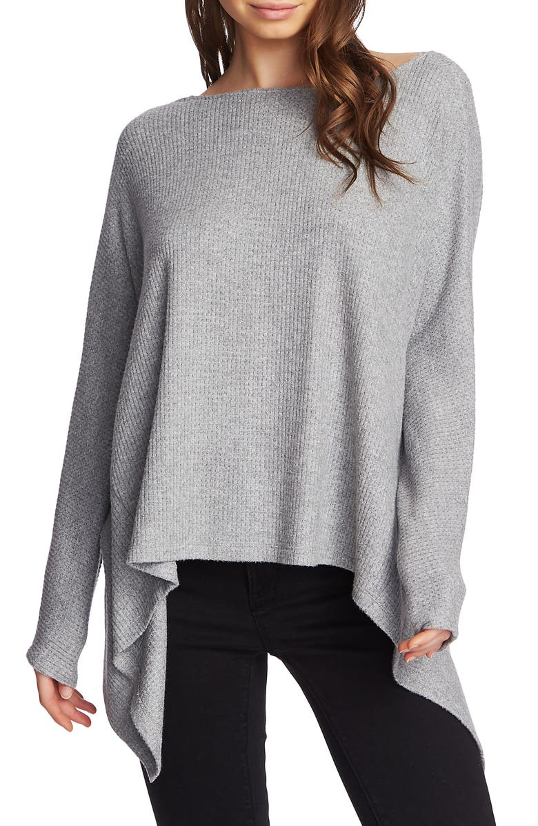 1.STATE Knot Back Waffle Knit Top, Main, color, SILVER HEATHER