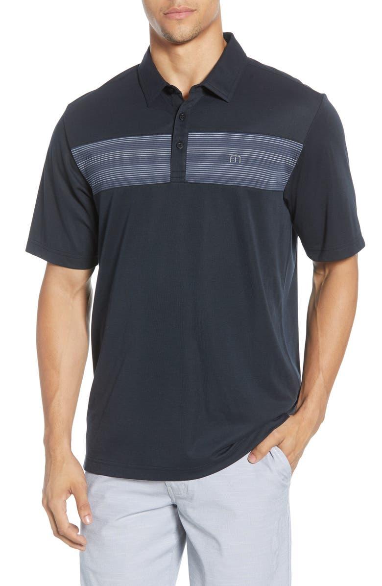 TRAVISMATHEW Rosete Stripe Performance Polo, Main, color, BLACK