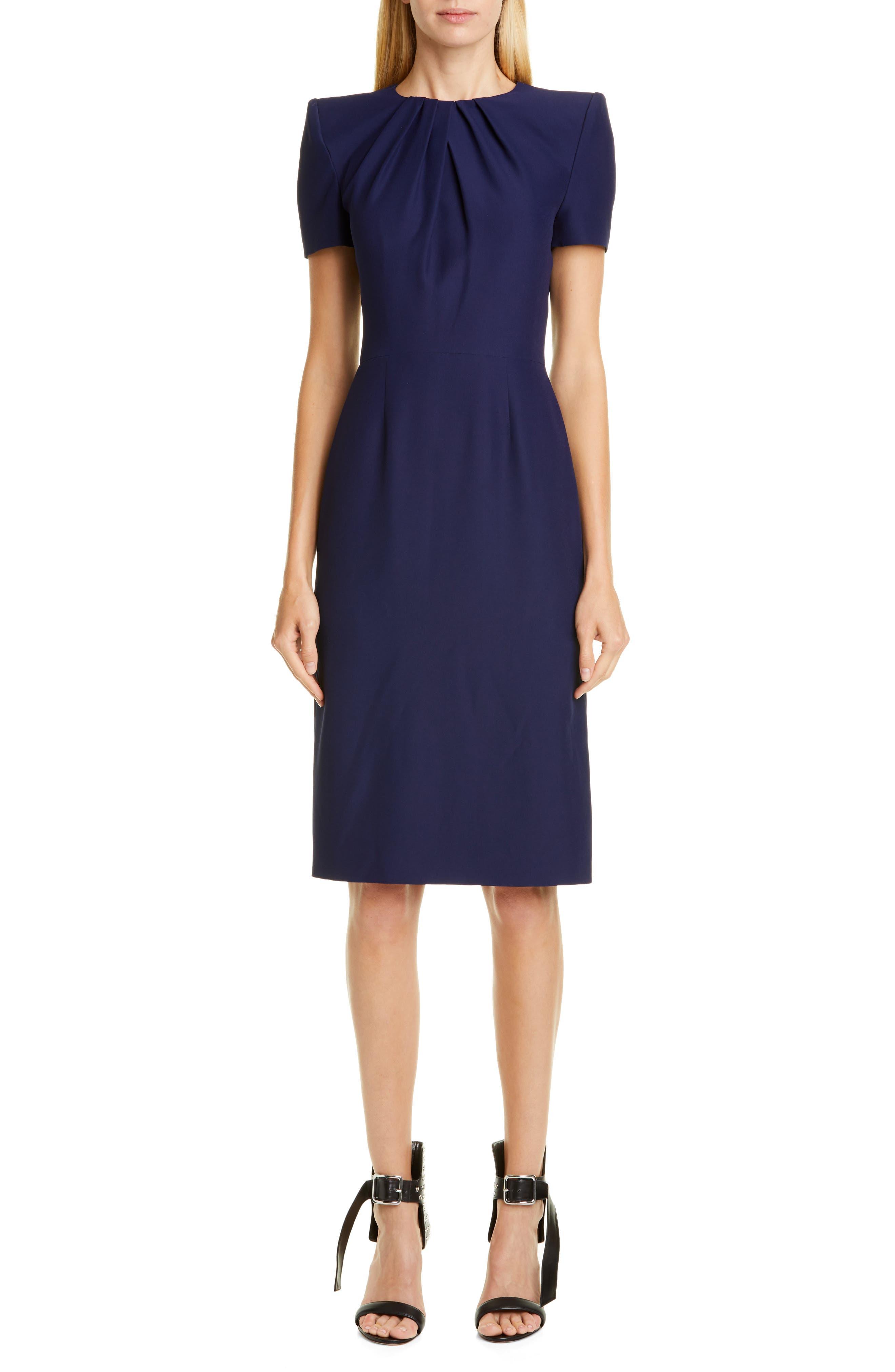 Alexander Mcqueen Pleated Sheath Dress, US / 48 IT - Blue